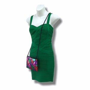 Y2K Green Bandage Dress & Sequin Purse, Size Small